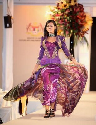 Handpainted silk batik dress at Harrod's promo of Malaysian craft in February