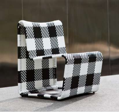 gingham outdoor chair by Alfred Sung