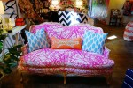 furbish studio upholstered sofa with neon scribble fabric