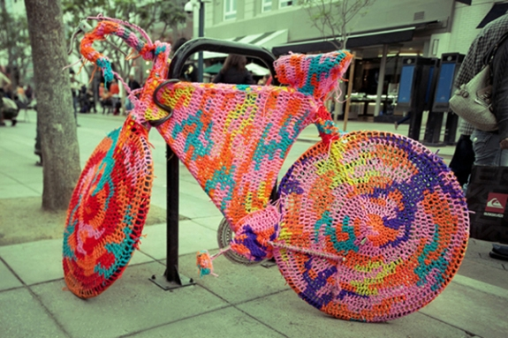 yarn bombed bike