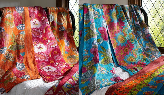 Floral print kantha throw