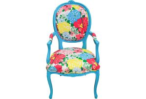 Lily Pulitzer chintz fabric on chair through One King;s Lane