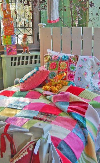 wool scrap patchwork bedcover via Rosehip.typepad.2