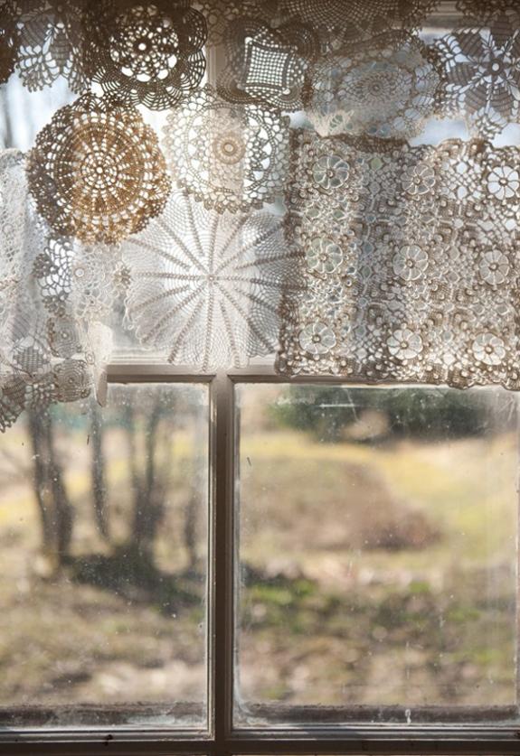 doilie window treatment via Free People blog