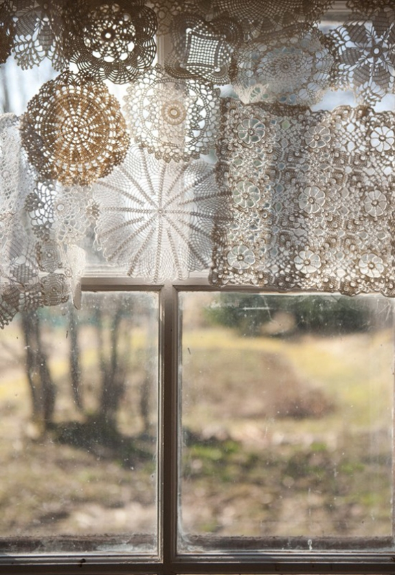 doilie window treatment via Free People blog