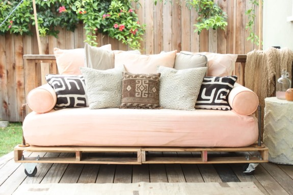Outdoor sofa with shipping pallet base