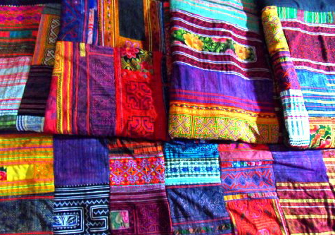 Hmong patchwork bed covers
