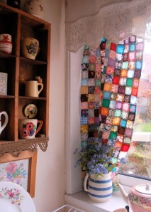 scrap fabric curtain
