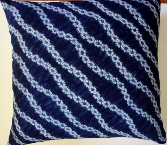 Japanese shibori pillow in indigo