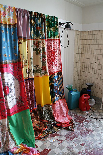 vintage scarf curtain
