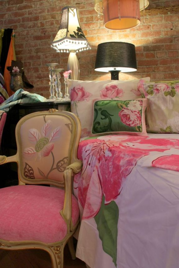 Jane Hall Design custom chair and bedding