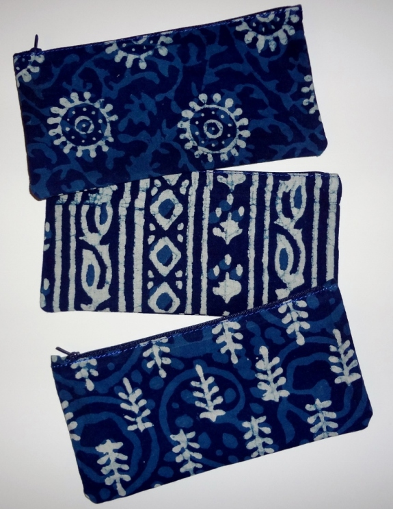 "Indigo block printed cotton pouches with zippers. Set of three. 8"" x 4"". Made in India. A great hostess or holiday gift. $22"