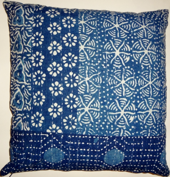 "100% cotton sheeting block printed and kantha stitched pillow covers. Set of two. No two exactly alike, but very similar. 20"" x 20"". Bottom zipper closure. Made in India. $40"