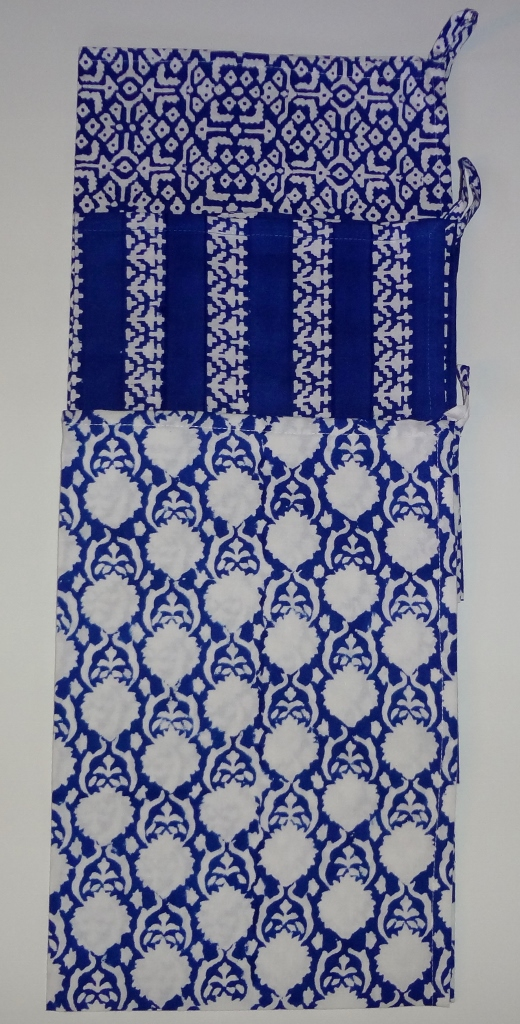 "Set of three assorted indigo block printed towels with corner loops. 100% cotton sheeting. Each is 20"" x 30"". Made in India. Great holiday or hostess gift. $25"