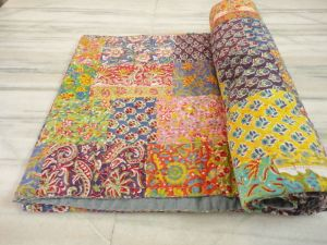 patchwork kantha bedcover