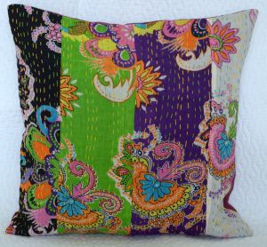 patchwork kantha pillow cover