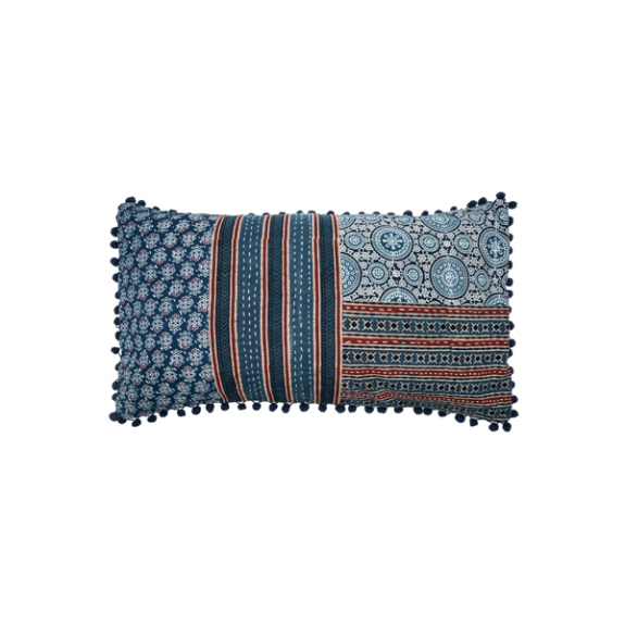 IND100 patchwork block print with pom poms