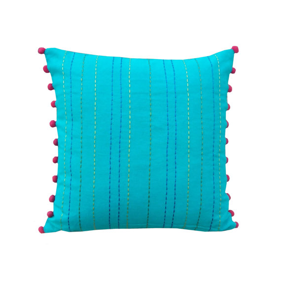 OC71 solid turquoise with pom poms fabric